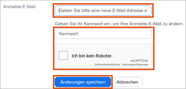 Screenshot E-Mail ändern