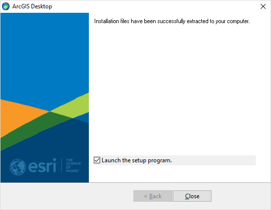 Screenshot ArcGIS Installationsdateien entpacken