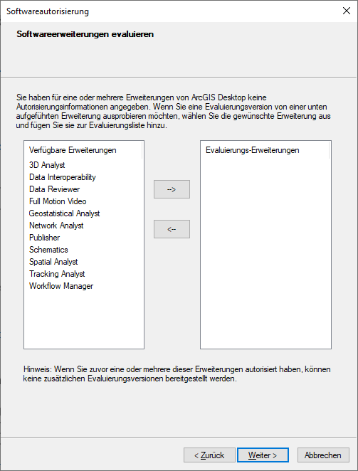 Screenshot ArcGis Softwareerweiterungen evaluieren