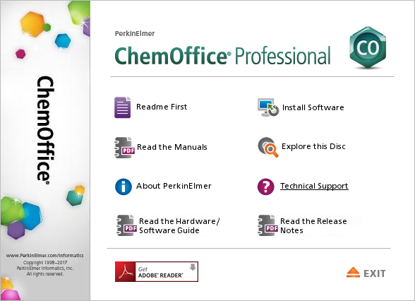 Screenshot ChemOffice - Hauptmenü Install Software