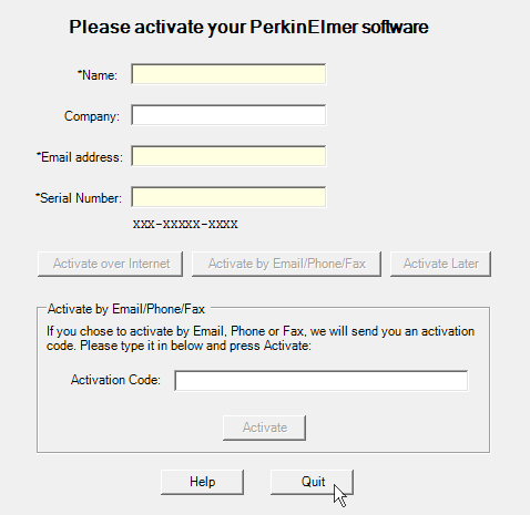 Screenshot ChemOffice - Please activate your PerkinElmer Software - Quit