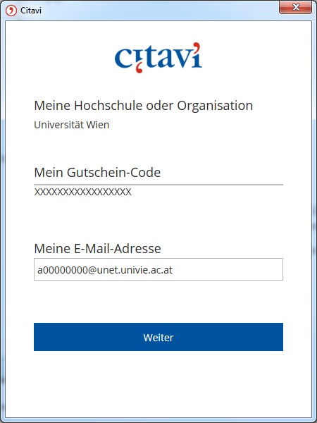 Screenshot Citavi Meine E-Mail-Adresse