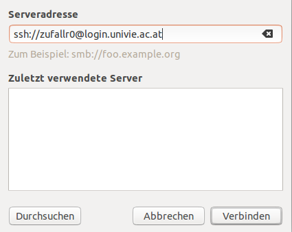Screenshot Linux Serveradresse eingeben