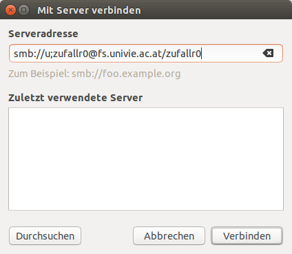 Screenshot Linux Samba Serveradresse eingeben