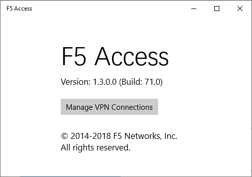 Screenshot VPN Windows F5 Access Manage VPN Connections