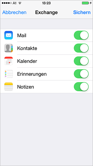 Screenshot Exchange iPhone Konfiguration abschließen