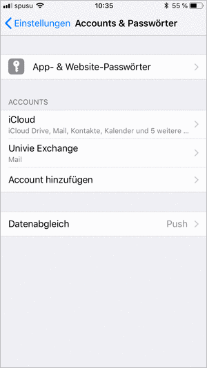 Screenshot Exchange iPhone Account hinzufügen