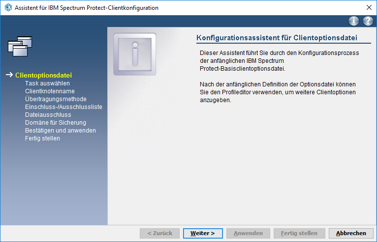 Screenshot Windows Konfigurationsassistent