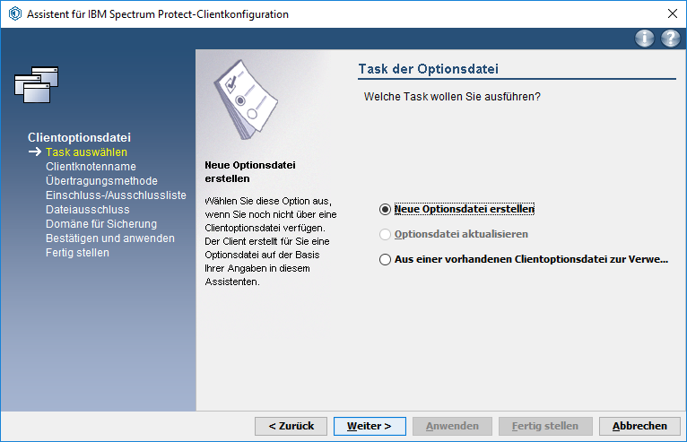 Screenshot Windows Neue Optionsdatei erstellen