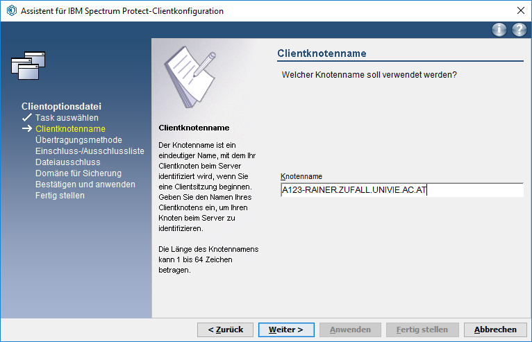 Screenshot Windows Knotennamen eintragen