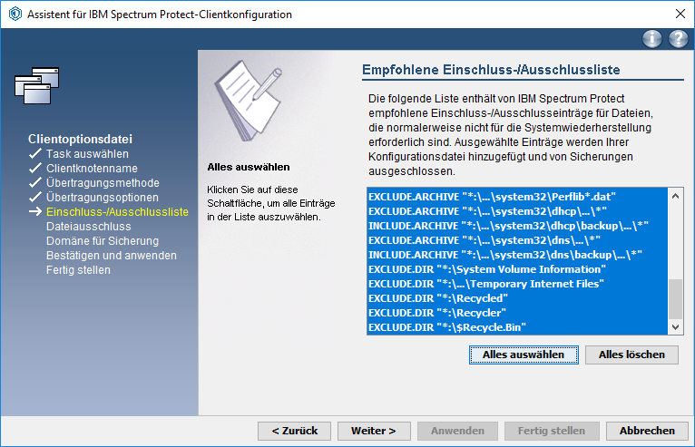 Screenshot Windows Ein/Ausschlussliste