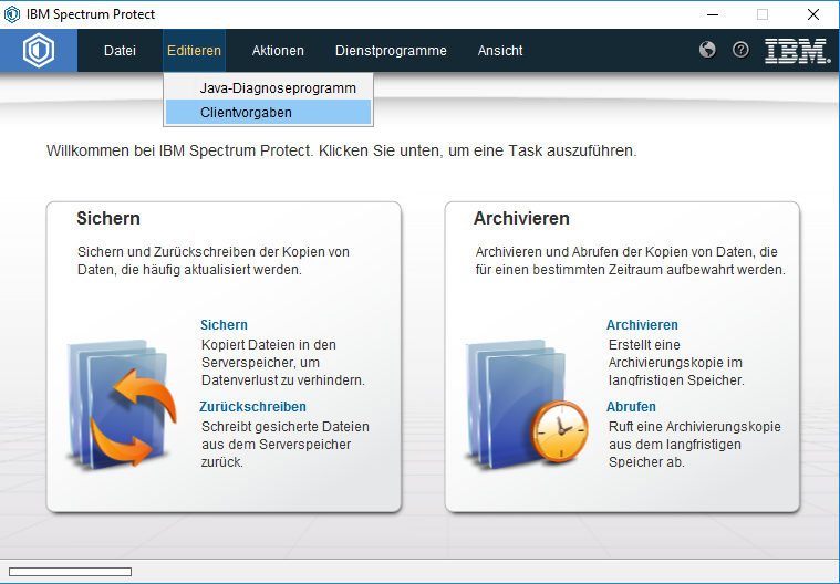 Screenshot Windows Clientvorgaben